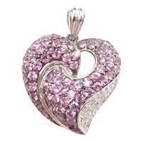 Pink Sapphire and Diamond 2.20 ctw Heart Pendant 14k White Gold
