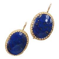 Ornate Lapis Lazuli Drop Earrings 14k Yellow Gold