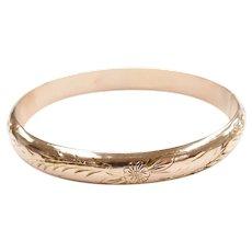 Vintage Floral Embossed Hinged Bangle Bracelet 18k Rose Gold