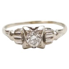 Art Deco Diamond .23 Carat Engagement Ring 14k White Gold