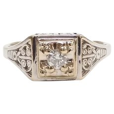 Art Deco Diamond .12 Carat Ornate Engagement / Right-hand Ring 14k Yellow and White Gold Two-Tone