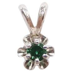 Vintage Petite Emerald .06 Carat Buttercup Pendant 14k White Gold