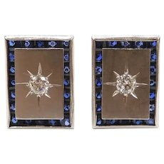 Art Deco Sapphire and Diamond 8.60 ctw Stud Earrings 18k White Gold ~ Converted Cuff Links