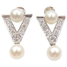 Art Deco Cultured Pearl and Diamond 1.30 ctw Geometric Triangle Earrings 14k White Gold