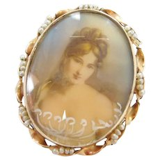 14k Gold Hand Painted Cameo Pendant / Pin with Seed Pearl Twisted Ribbon Border Edwardian