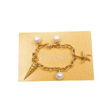 "7 1/2"" Paspaley 18k Gold Nautical Charm Bracelet Australian Pearls Certificate"