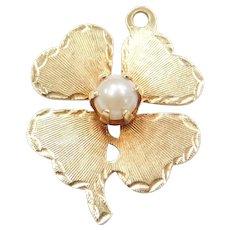 14k Gold Cultured Pearl Four Leaf Clover Charm
