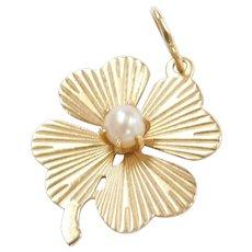 Vintage 14k Gold Cultured Pearl Four Leaf Clover Charm