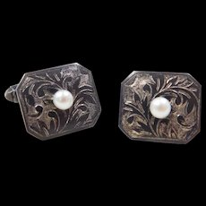 1940's Sterling Silver Cultured Pearl Cufflinks