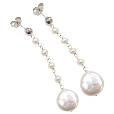 14k White Gold Cultured Pearl Dangle Earrings