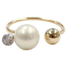 14k Gold Cultured Pearl, Diamond and Ball Ring ~ Converted Stick Pin