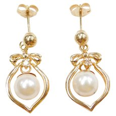 14k Gold Cultured Pearl and Diamond Dangle Earrings
