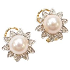 14k Gold Cultured Pearl and Diamond Flower Stud Earrings with Omega Backs