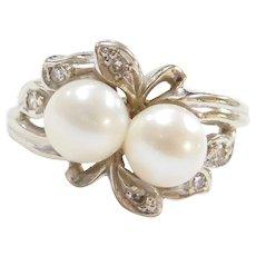 Retro 14k White Gold Cultured Pearl and Diamond Ring