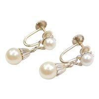 1950's 14k White Gold Cultured Pearl Drop Earrings ~ Screw Backs Non-Pierced