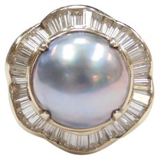 Light Blue Cultured Pearl and Faux Diamond Ballerina Ring 14k Whit Gold