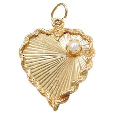 14k Gold Cultured Pearl Heart Charm