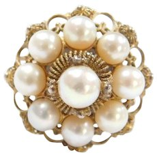 Victorian 10k Gold Ornate Handmade Cultured Pearl Ring