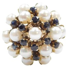 1950's 14k Gold Cultured Pearl and Sapphire Ring