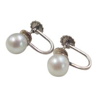 Vintage 14k White Gold Cultured Pearl Screw Back Earrings