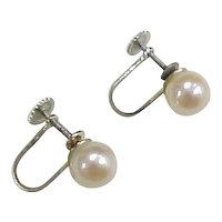 Vintage 14k White Gold Pearl Screw Back Earrings