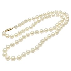 Vintage 14k Gold White Cultured Pearl Necklace Strand ~