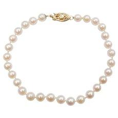 "7"" White Cultured Pearl Strand Bracelet 14k Yellow Gold"