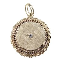 Retro 14k Gold Diamond Perfume Locket Charm / Pendant