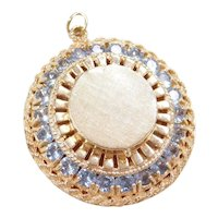 Vintage 14k Gold 4.40 ctw Light Blue Spinel Big Perfume Locket / Pendant / Charm ~ Fragrance Aroma Oil Diffuser