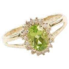 Vintage 14k Gold .65 ctw Peridot and Diamond Halo Ring