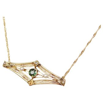 "17 1/2"" Victorian Peridot and Seed Pearl Bar Necklace 14k Gold"