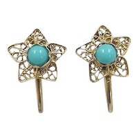 Victorian 14k Gold Turquoise Filigree Flower / Star Gold Filled Screw Back Earrings