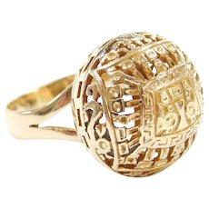 18k Gold Arte Orfebre Peruvian Incan Detailed Handmade Ring