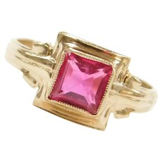 Edwardian 10k Gold Pink Paste Ring ~ Pinky Finger, Baby, Childs