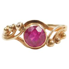 1.05 Carat Pink Ruby Bypass Ring 14k Yellow Gold