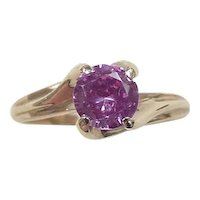 Vintage 10k Gold 1.05 Carat Pink Sapphire Solitaire Ring
