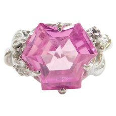 10k White Gold Fantasy Cut Pink Sapphire and White Spinel Ring