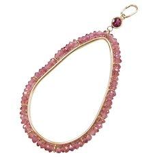 14k Gold Big Teardrop Pink Tourmaline Pendant