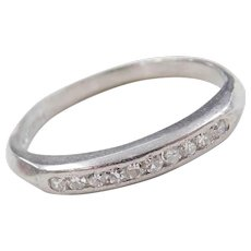 Vintage Platinum .10 ctw Diamond Wedding Band Ring ~ Circa 1930-40's