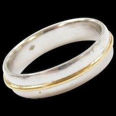 Vintage Platinum and 18k Gold Men's Wedding Band Ring