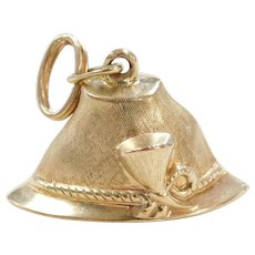 Vintage 14k Gold Pointed Hat Charm ~ Alpine / Military Style / Peter Pan