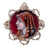 Victorian 14k Gold St. Fabiola Painted Portrait Foil Headscarf Seed Pearl Pin / Brooch / Pendant