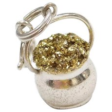Adorable Sterling Silver Pot of Gold Charm