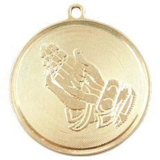 14k Gold Praying Hands Serenity Prayer Disk Charm ~ Religious ~ God ~ Strength