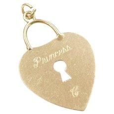 14k Gold Princess C Heart Lock Charm / Pendant