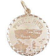 Vintage 14k Gold Puerto Rico Disk Charm