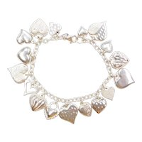 "7 1/4"" Puff Heart Love Charm Bracelet Sterling Silver"