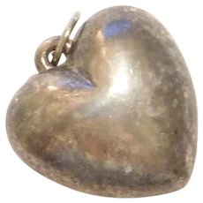 Sterling Silver Puff Heart Charm / Pendant