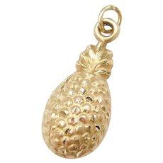 14k Gold Puff Pineapple Charm