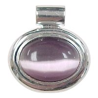 Vintage Sterling Silver Purple Cats Eye Pendant